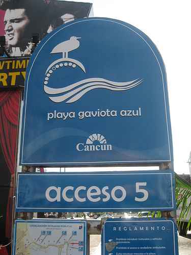 "Big blue ""Playa Gaviota Azul"" sign marking the entrance =)"