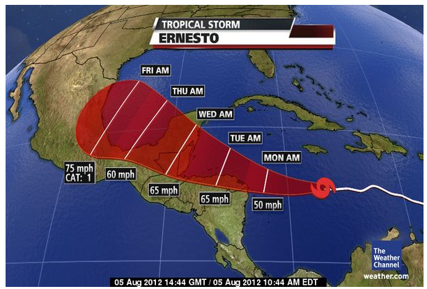 Tropical Storm Ernesto Cancun Updates